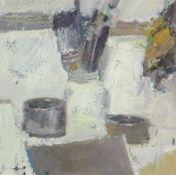 GORDON STUART oil on board - still life of brushes in a pot, entitled verso 'Studio Pots', dated