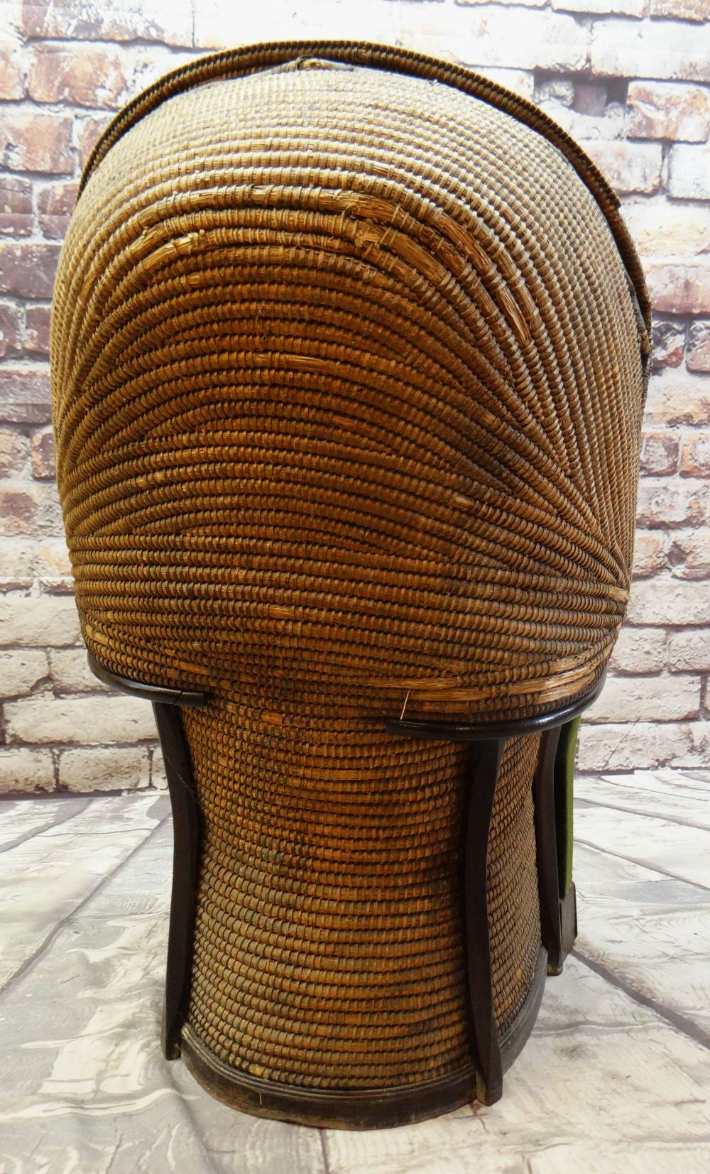 A RARE 19TH CENTURY MONMOUTHSHIRE LIPWORK BEEHIVE ARMCHAIR of wicker composition, wooden structure - Image 3 of 6