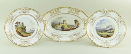 RARE NANTGARW PORCELAIN TOPOGRAPHICAL PART DESSERT-SERVICE in three parts, comprising two circular