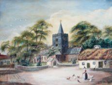 ALFRED WORTHINGTON oil on board - primitive school, historic view of Llanbadarn Church near