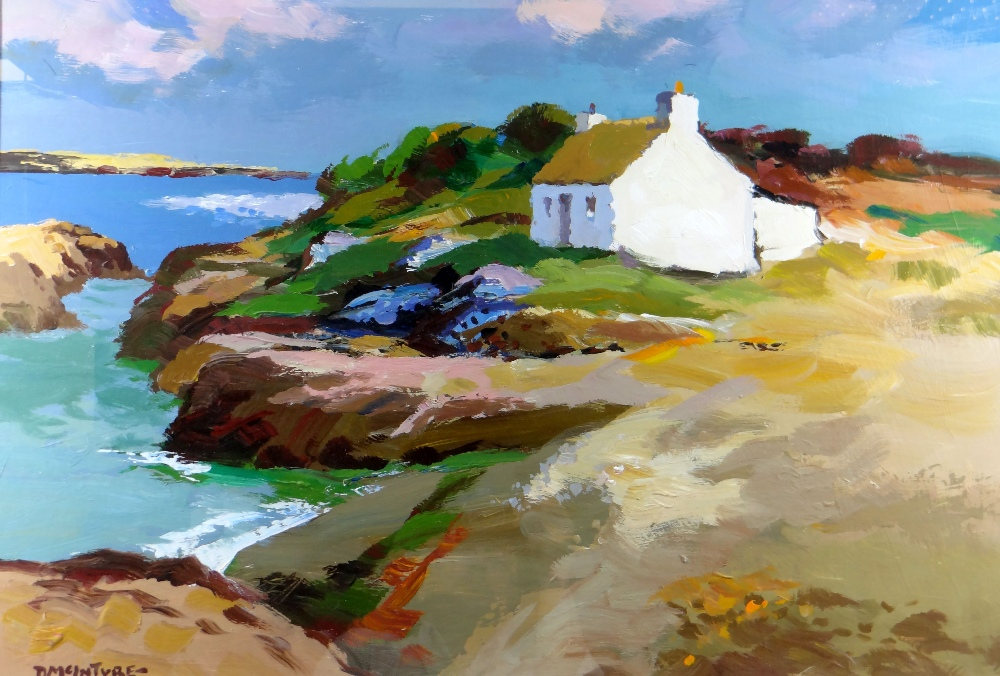 DONALD MCINTYRE acrylic - coastal scene with whitewashed cottage, entitled verso on artist's
