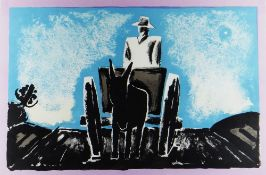 JOSEF HERMAN OBE RA limited edition (9/100) colour print - crop-field with figure in cart pulled