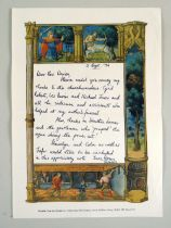 AERONWY THOMAS 1994 letter on 'Book of Hours' illustrated notepaper thanking Rev. Davies for the