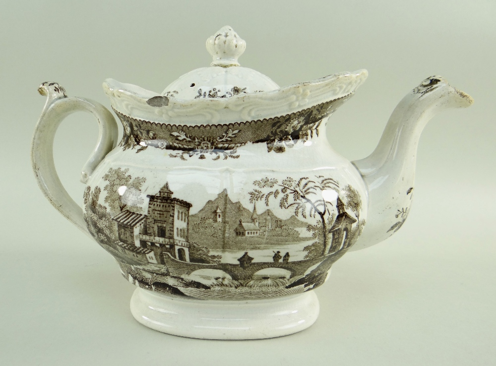 GLAMORGAN POTTERY PART TEA SERVICE IN THE BRIDGE & TOWER TRANSFER printed in brown, comprising - Image 3 of 6