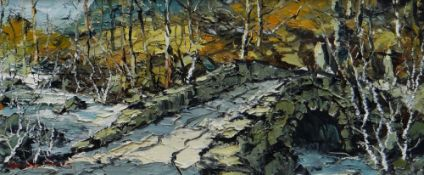 CHARLES WYATT WARREN oil on board - stone single arched bridge over mountain stream with woodland,