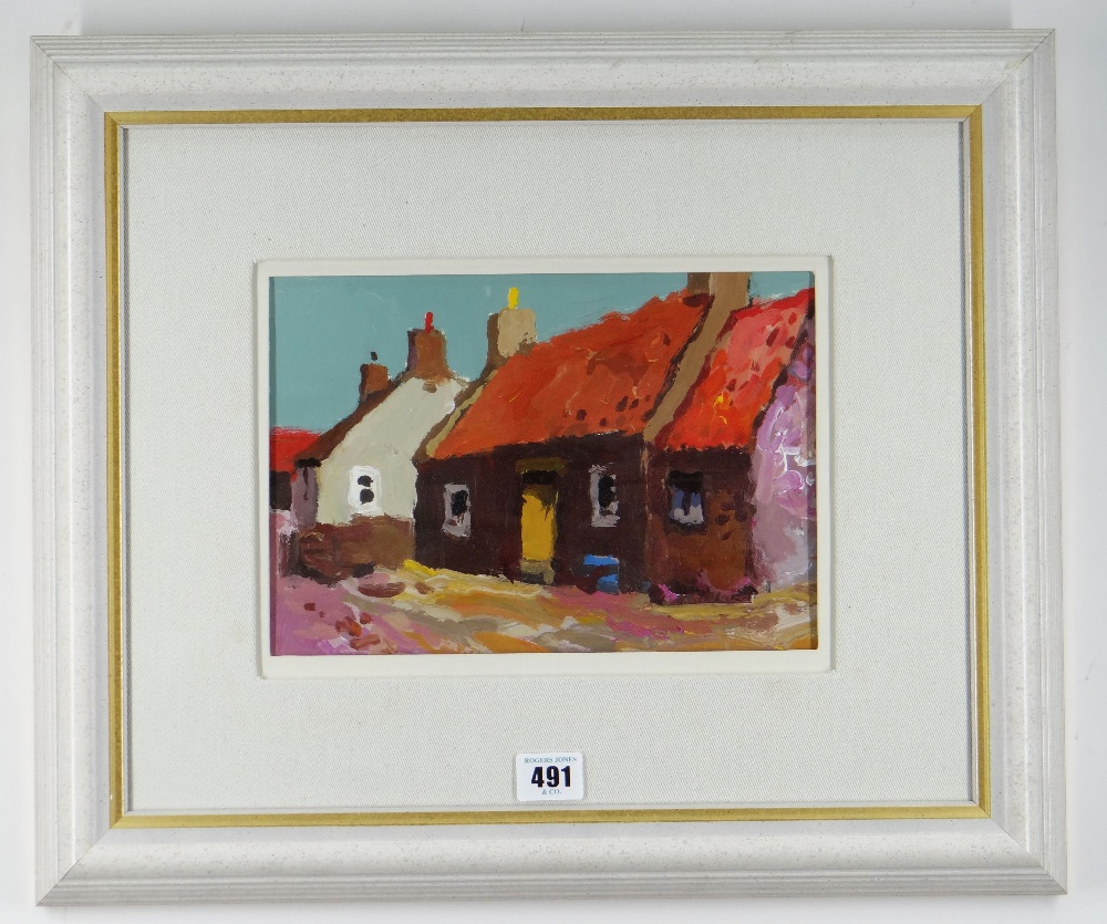 DONALD MCINTYRE acrylic - entitled verso 'Cottages Cullen No.6', signed verso to label, 17 x 26cms - Image 2 of 2