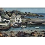 SIR KYFFIN WILLIAMS RA early oil on canvas - Cemaes Bay, Anglesey harbour scene with cottages, boats