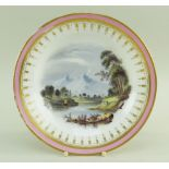 A SWANSEA PORCELAIN DESSERT PLATE WITH LANDSCAPE SCENE London decorated, having a salmon-pink and