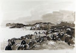 SIR KYFFIN WILLIAMS RA rarely seen limited edition (19/350) lithograph - Ynys Mon coastline with