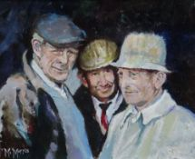 MIKE MORRIS oil on board - the heads of three country gentlemen, signed, 24 x 29.5cms Provenance: