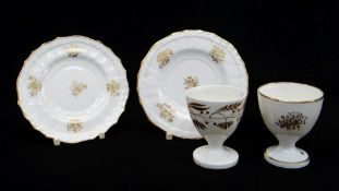 A PAIR OF SWANSEA PORCELAIN EGG CUP PLATES & MATCHING EGG CUP & ANOTHER non-matching egg-cup, the