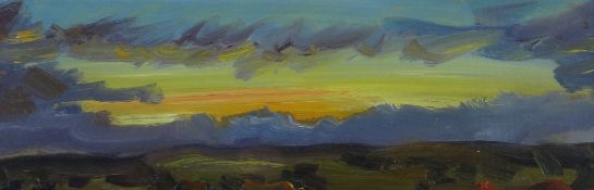 DAVID LLOYD GRIFFITH oil on panel - entitled verso 'Dusk Over Conwy Valley', signed with initials,