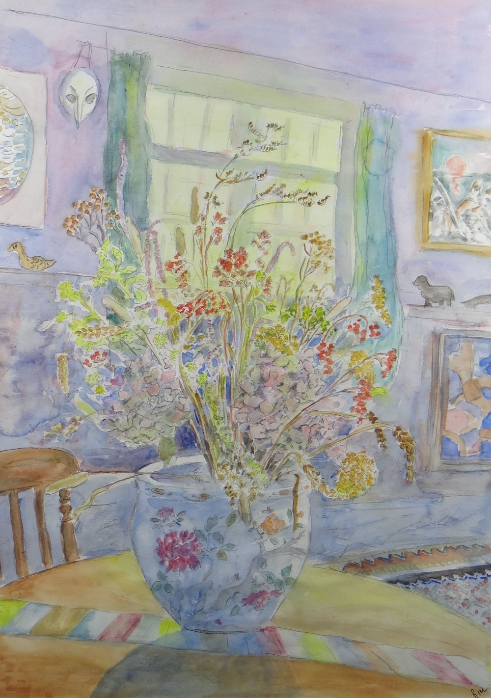 BIM GIARDELLI watercolour - interior scene with jardiniere of flowers on a table, signed, 69 x 48cms