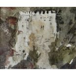 JOHN KNAPP-FISHER mixed media - church towers, signed and dated 1985, 10 x 12cms Provenance: private