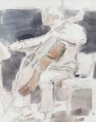 GORDON STUART watercolour - study of a cello player, signed with initials, 30 x 23cms Provenance: