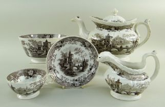 GLAMORGAN POTTERY PART TEA SERVICE IN THE BRIDGE & TOWER TRANSFER printed in brown, comprising