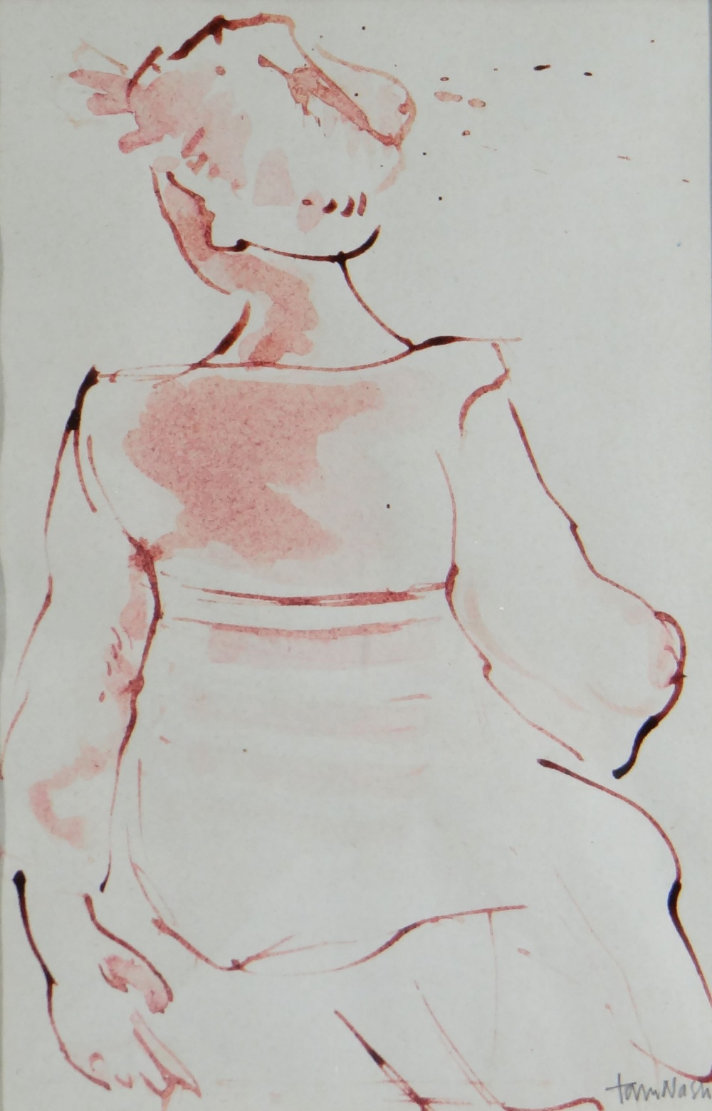 TOM NASH watercolour - study of a lady from the rear in Arles, France, signed, 23 x 15cms