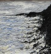 WYN HUGHES oil on board - coastal cliffs and waves, signed with initials, 21.5 x 19cms Provenance: