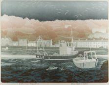 BERNARD GREEN limited edition (8/55) linocut print - entitled 'Boats at Lower Fishguard', signed, 37