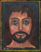 JACK JONES oil on board - head of Christ, signed and dated 1977, 25 x 29cms Provenance: private