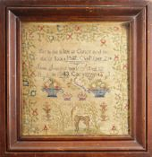19TH CENTURY NEEDLEWORK SAMPLER BY JANE JONES, AGED 12, DATED 1843, CARNARVON, 32 x 30cms