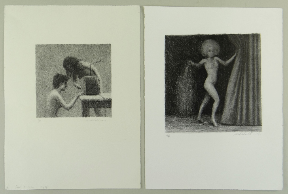 HARRY HOLLAND two artist's proof mono prints - figures, signed, 38 x 28cms and 37.5 x 38cms