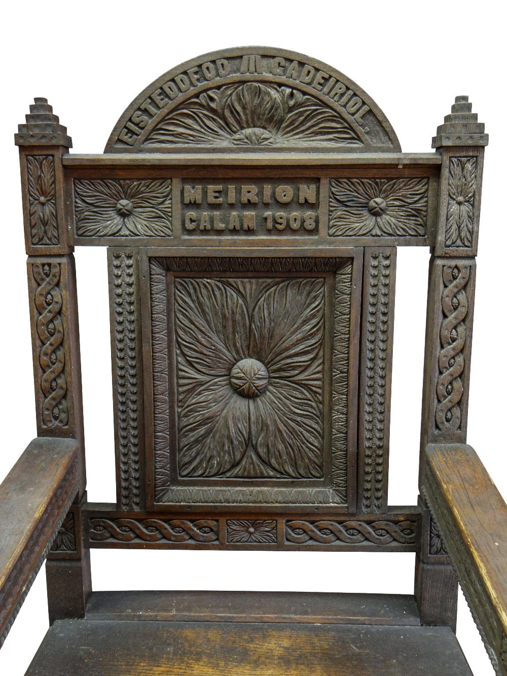 A 1908 EISTEDDFOD BARDIC CHAIR AWARDED TO REVEREND WILLIAM ALFA RICHARDS (1875-1931) in carved - Image 2 of 6