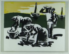 JOSEF HERMAN OBE RA limited edition (104/150) colour print - three cockle-picker figures and