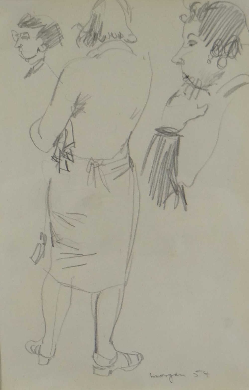 GLYN MORGAN pencil drawing - study of a standing female (possibly a preliminary drawing for a