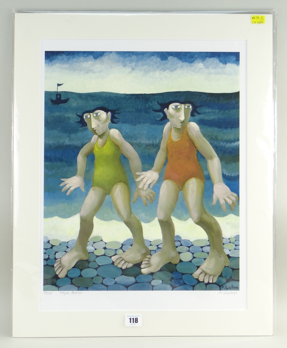 MURIEL DELAHAYE limited edition (93/275) colour print - 'Frozen Bathers', signed in pencil, 45 x - Image 2 of 2