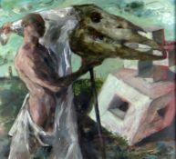 CLIVE HICKS-JENKINS varnished acrylic on Arches paper - entitled verso 'Mari Lwyd Unmasked' signed