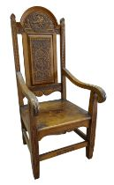 A 1918 EISTEDDFOD BARDIC CHAIR AWARDED TO REVEREND WILLIAM ALFA RICHARDS (1875-1931) in carved