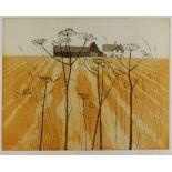 IOLA SPAFFORD limited edition (9/75) coloured etching - title in pencil to margin 'Suffolk Farm',