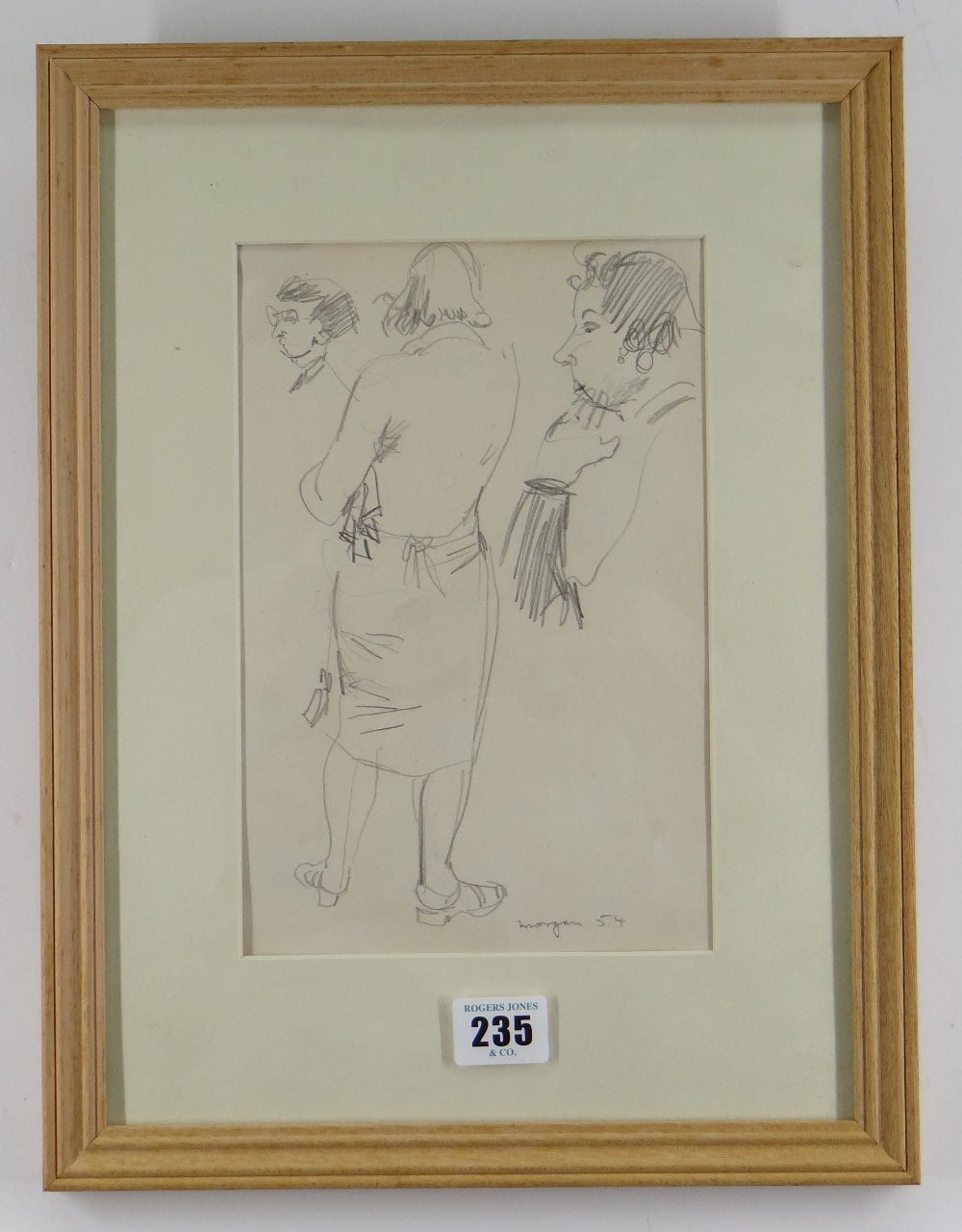 GLYN MORGAN pencil drawing - study of a standing female (possibly a preliminary drawing for a - Image 2 of 2