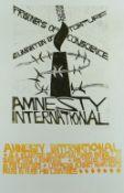 PAUL PETER PIECH two colour linocut poster - advert for Amnesty International, depicting their logo,