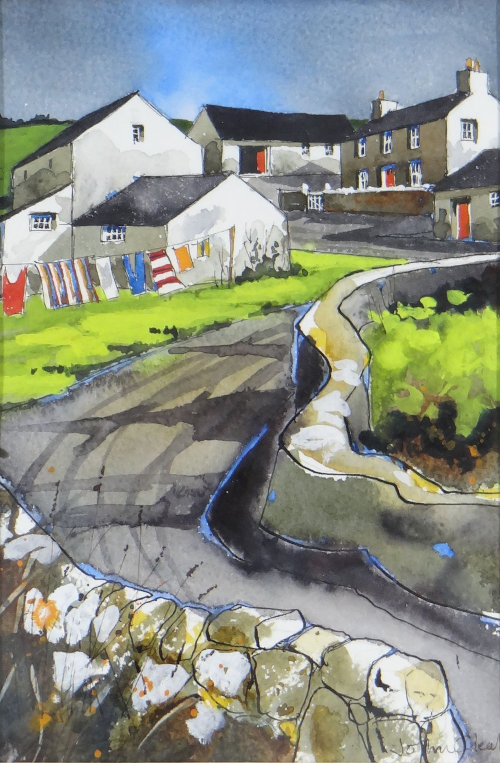 JOHN CLEAL watercolour and ink - West Wales village street with washing line and cottages,