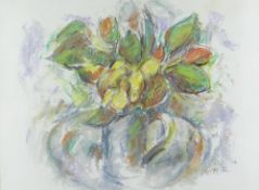 WILL ROBERTS mixed media / pastel - still life of mixed flowers in a squat jug, signed with