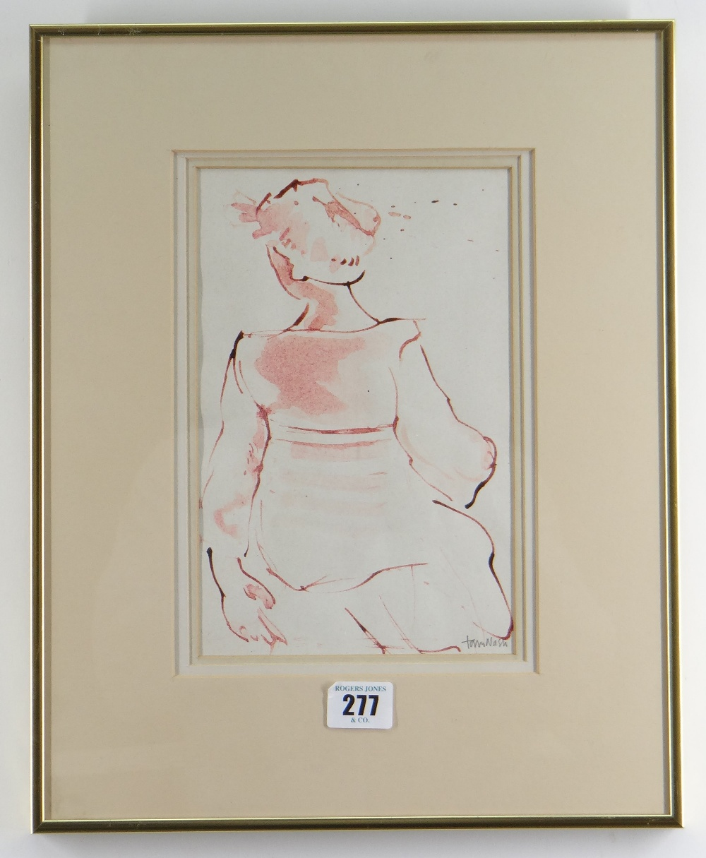 TOM NASH watercolour - study of a lady from the rear in Arles, France, signed, 23 x 15cms - Image 2 of 2