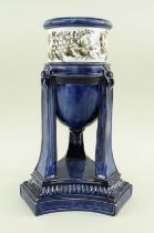 A RARE SWANSEA PEARLWARE CASSOLETTE elevated by three tall tapering legs with moulding and lion-head