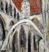 MATT STEELE mixed media on canvas - interior of Llandaff cathedral with Jacob Epstein's 'Christ in