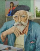 EDWARDS watercolour - portrait of Augustus John in old age, with beret, pipe and a portrait on an
