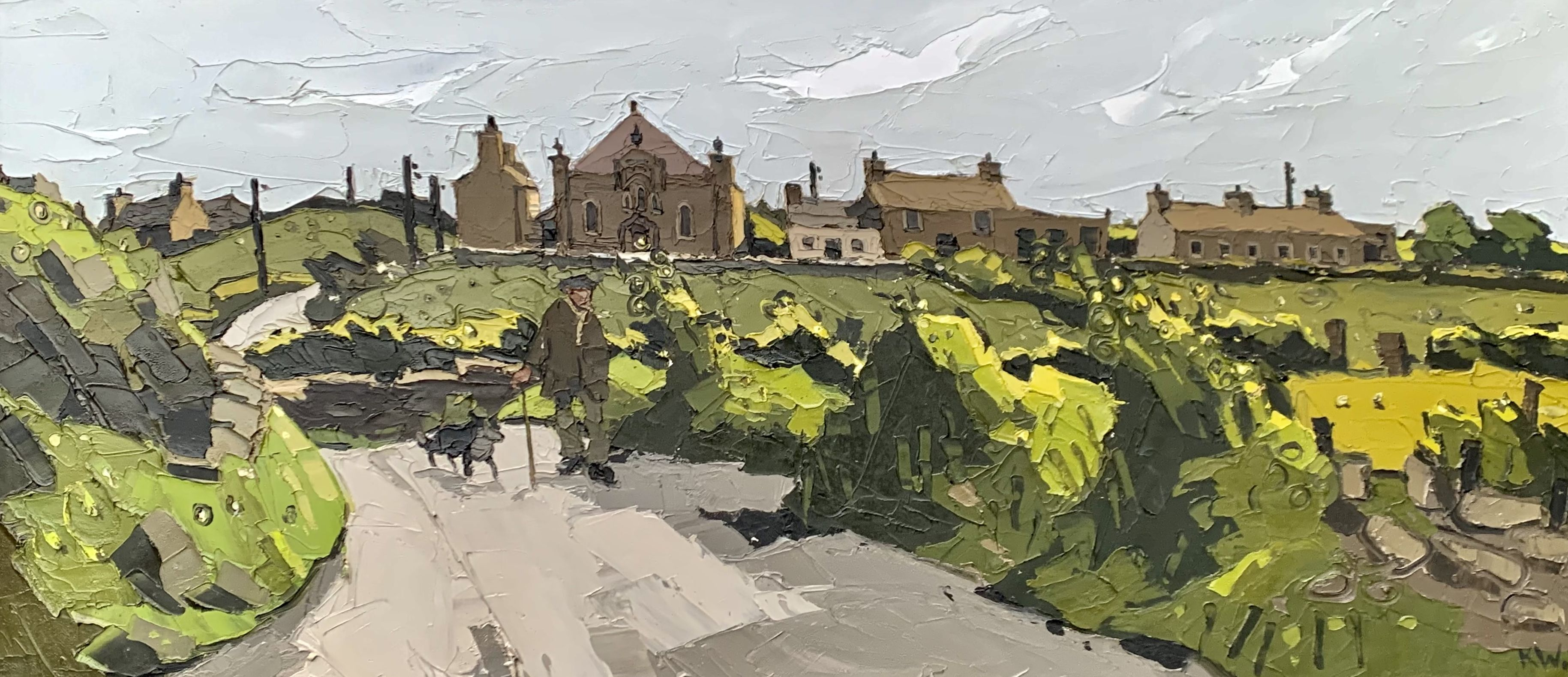 SIR KYFFIN WILLIAMS RA oil on canvas - Ynys Mon (Anglesey) landscape with farmer and dog walking