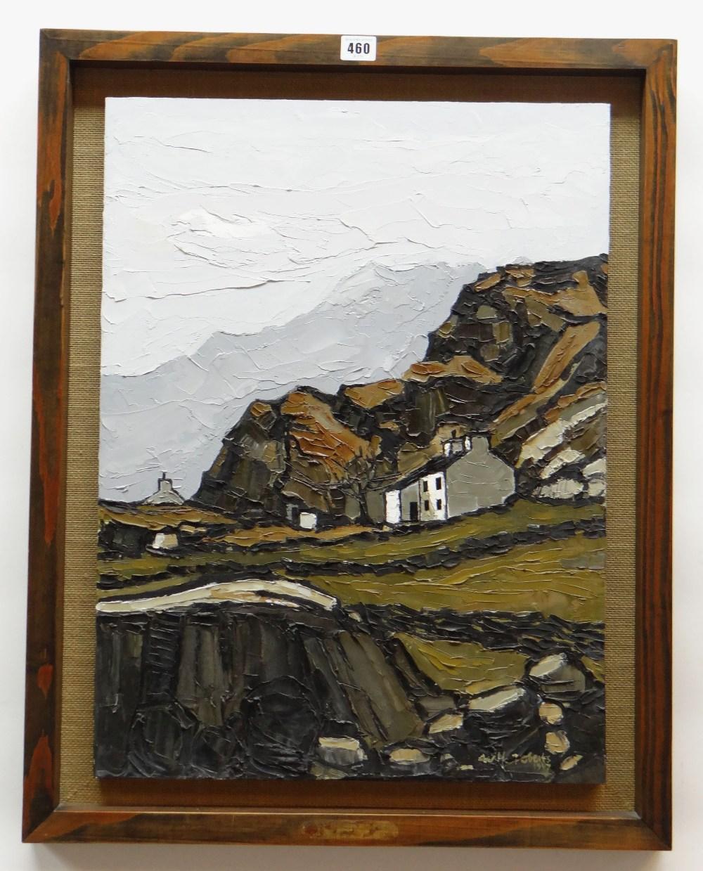 WILF ROBERTS oil on board - titled on plaque mounted to frame 'Hafod Tan Graig A'r Wyddfa yn Nyferyn - Image 2 of 2