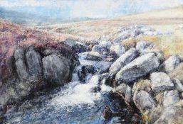 KEITH BOWEN mixed media on board - Afon Eigiau rapids, Eryri, signed, with original Oriel Tegfryn