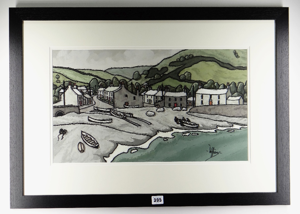 ALAN WILLIAMS acrylic - harbour scene with fisherman and boats, entitled verso 'Little Haven, - Image 2 of 2