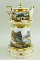 A WELSH LANDSCAPE ENGLISH PORCELAIN VEILLEUSE (tea-pot and warming stand) comprising miniature