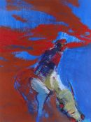 TOM NASH acrylic - figure with cow in red and blue, signed, 47 x 36cms Provenance: directly from the