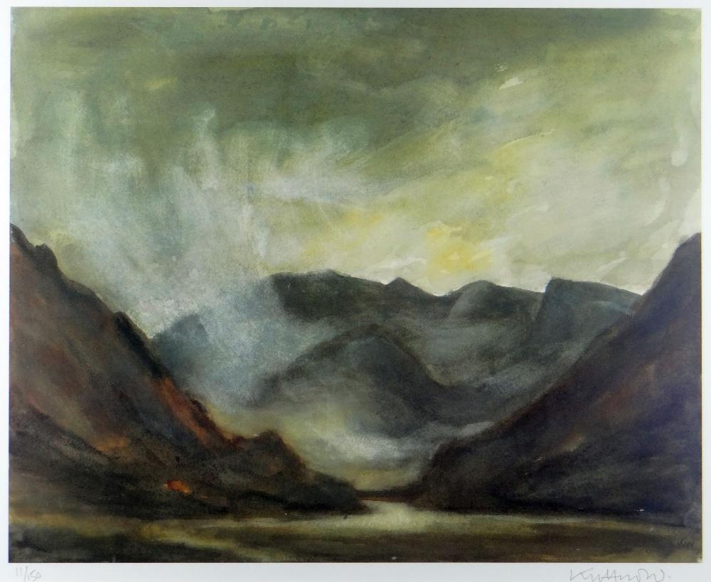 SIR KYFFIN WILLIAMS RA limited edition (11/150) colour print - entitled verso 'Nant Ffrancon',