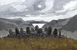SIR KYFFIN WILLIAMS RA oil on canvas - dramatic and expansive scene featuring Bryn Cader Faner
