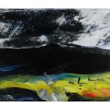 WIL ROWLAND acrylic on board - landscape, entitled verso 'Cysgod Hir', signed with initials, 25